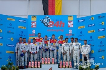 Podium: race winners Marc Basseng, Christopher Haase, Frank Stippler and Markus Winkelhock, second place Chris Mamerow, Christian Abt, Michael Ammermüller and Armin Hahne, third place Pierre Kaffer, Christiaan Frankenhout and Andreas Simonsen