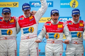Podium: race winners Marc Basseng, Christopher Haase, Frank Stippler and Markus Winkelhock