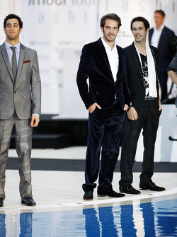 Daniel Ricciardo, Scuderia Toro Rosso; Jean-Eric Vergne, Scuderia Toro Rosso; Bruno Senna, Williams; at the Amber Lounge Fashion Show