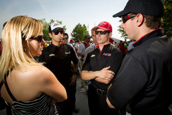 Helio Castroneves, Team Penske Chevrolet, Ryan Briscoe, Team Penske Chevrolet and Will Power, Verizon Team Penske Chevrolet