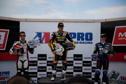 SportBike Podium: First place Martin Cardenas, Second place Jason DiSalvo, Third place Cameron Beaubier