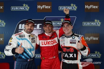 Press conference, pole winner Gabriele Tarquini, SEAT Leon WTCC, Lukoil Racing Team, second place Yvan Muller, Chevrolet Cruze 1.6T Chevrolet, and third place Norbert Michelisz, BMW 320 TC
