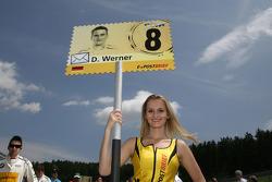 Grid girl of Dirk Werner, BMW Team Schnitzer BMW M3 DTM