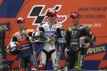 Podium: race winner Jorge Lorenzo, Yamaha Factory Racing, second place Dani Pedrosa, Repsol Honda Team, third place Cal Crutchlow, Yamaha Tech 3