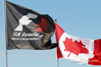 F1 and Canadian flags