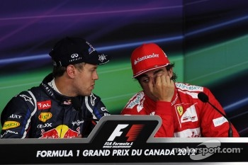 pole sitter Sebastian Vettel, Red Bull Racing and Fernando Alonso, Scuderia Ferrari in the FIA Press Conference