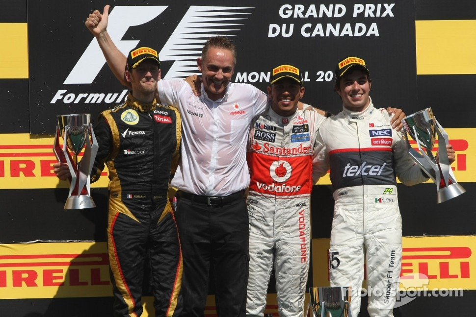 Romain Grosjean, Lotus F1 Team, Lewis Hamilton, McLaren Mercedes Mercedes and Sergio Perez, Sauber F1 Team, Martin Whitmarsh, Team McLaren 