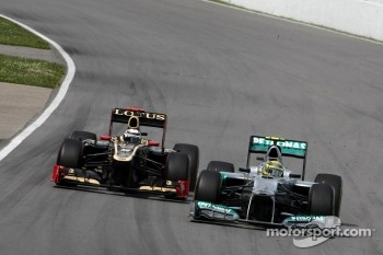Nico Rosberg, Mercedes GP and Kimi Raikkonen, Lotus F1 Team