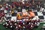 Victory lane: winner Joey Logano, Joe Gibbs Racing Toyota