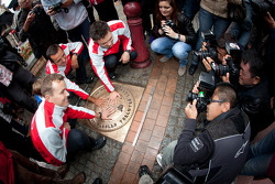 Hand imprint ceremony: 2011 24 Hours of Le Mans winners Marcel Fässler, Andre Lotterer and Benoit Tréluyer