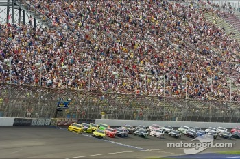 Restart: Joey Logano leads Sam Hornish Jr.
