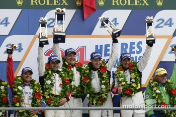 LMGTE Am podium: class winners Patrick Bornhauser, Julien Canal, Pedro Lamy