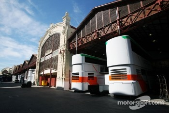 Sahara Force India F1 Team trucks in the paddock