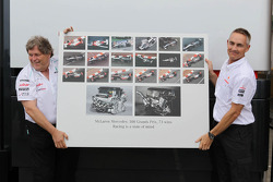Norbert Haug, Mercedes Sporting Director and Martin Whitmarsh, Mclaren Mercedes Chief Executive Officer celebrate 300 Grands Prix partnership with McLaren and Mercedes