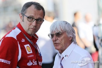 Stefano Domenicali, Ferrari General Director with Bernie Ecclestone, CEO Formula One Group