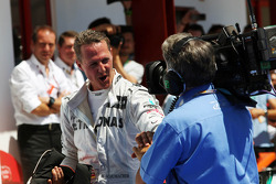 Michael Schumacher, Mercedes AMG F1 celebrates his third position in parc ferme