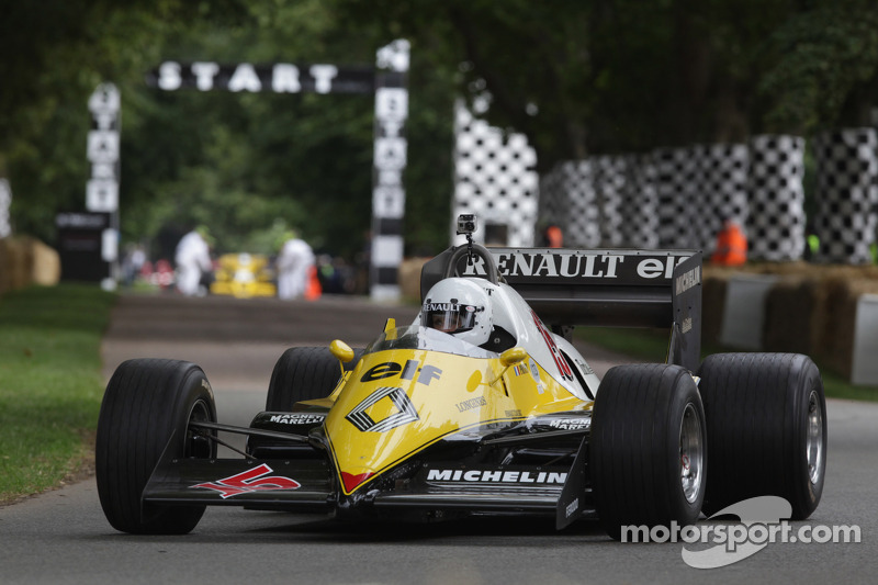 Alain Prost drives a classic Renault F1