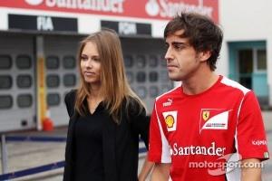 Fernando Alonso, Scuderia Ferrari with his new girlfriend Dasha Kapustina