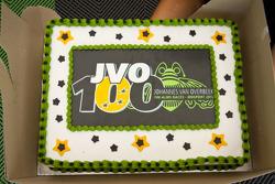Johannes van Overbeek celebrates his 100th race