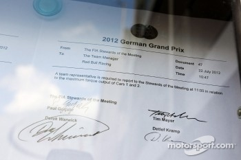 An FIA Memo requesting a meeting with Red Bull Racing representative in relation to the maximum torque output of the cars