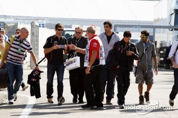 Mark Webber, Red Bull Racing arrives at the circuit
