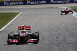 Lewis Hamilton, McLaren Mercedes with a flat tire