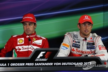 The FIA Press Conference, Fernando Alonso, Scuderia Ferrari, race winner; Jenson Button, McLaren, third