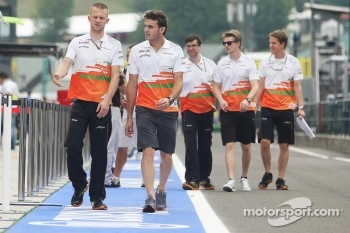Jules Bianchi, Sahara Force India F1 Team Third Driver and Nico Hulkenberg, Sahara Force India F1, walk the circuit