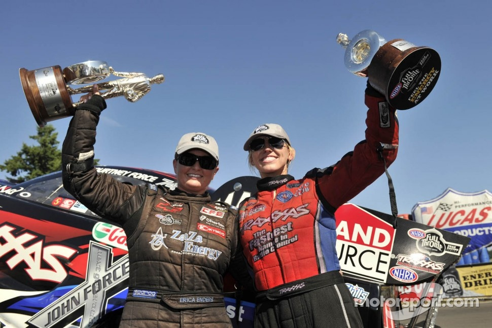 Erica Enders and Courtney Force celebrate their wins