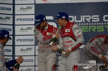 LMP1 podium: race winners Andre Lotterer, Benoit Trluyer, Marcel Fssler, second place Nicolas Lapierre, Kazuki Nakajima, Alexander Wurz, third place Allan McNish, Tom Kristensen