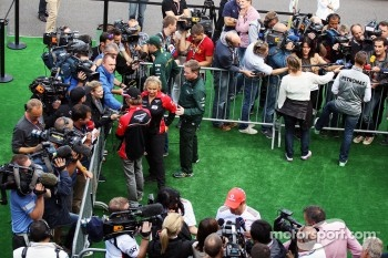 Charles Pic, Marussia F1 Team; Jenson Button, McLaren; Michael Schumacher, Mercedes AMG F1 with the media