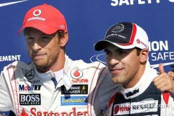 Jenson Button, McLaren Mercedes and Pastor Maldonado, Williams F1 Team