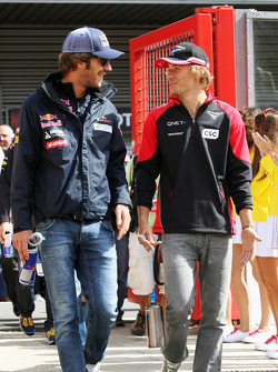 Jean-Eric Vergne, Scuderia Toro Rosso with Charles Pic, Marussia F1 Team on the drivers parade