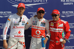Pole for Lewis Hamilton, McLaren Mercedes with 2nd Jenson Button, McLaren Mercedes and 3rd Felipe Massa, Scuderia Ferrari