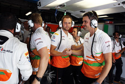Sahara Force India F1 Team celebrate fourth position in qualifying for Paul di Resta, Sahara Force India F1 before his 5 place grid penalty