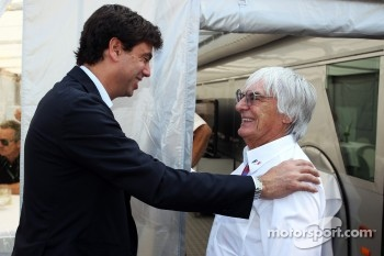 Andrea Agnelli, FIAT and Exor Board Member and President of Juventus FC with Bernie Ecclestone, CEO Formula One Group