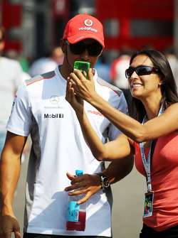Lewis Hamilton, McLaren with a fan