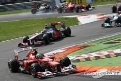 Felipe Massa, Ferrari leads Jenson Button, McLaren