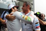 Second place Sergio Perez, Sauber celebrates with Beat Zehnder, Sauber F1 Team Manager