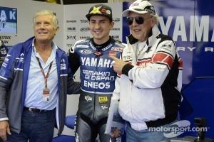 Jorge Lorenzo with Moto GP legends Giacomo Agostini and Phil Read