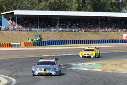 Jamie Green, Team HWA AMG Mercedes, AMG Mercedes C-Coupe leads Dirk Werner, BMW Team Schnitzer BMW M3 DTM