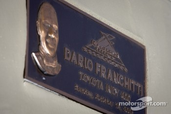 Dario Franchitti Walk of Fame ceremony: the plaque for Dario Franchitti, Target Chip Ganassi Racing Honda
