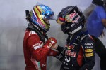 Race winner Sebastian Vettel, Red Bull Racing with third place Fernando Alonso, Scuderia Ferrari