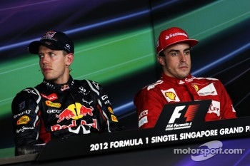 FIA press conference: race winner Sebastian Vettel, Red Bull Racing, third place Fernando Alonso, Scuderia Ferrari