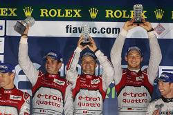 Overall podium: winners Marcel Fässler, Benoit Tréluyer, Andre Lotterer