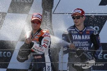 Podium: race winner Dani Pedrosa, Repsol Honda Team, second place Jorge Lorenzo, Yamaha Factory Racing