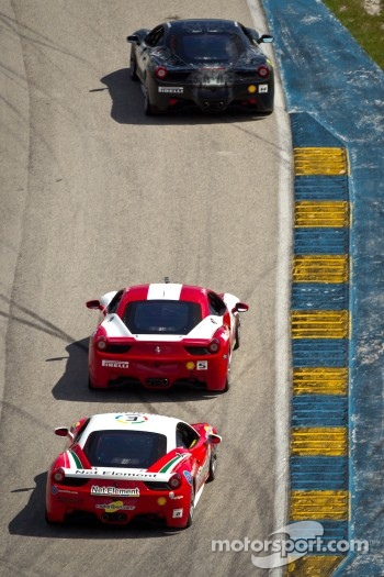 #14 Ferrari of San Diego 458CS: Brent Lawrence, #5 Ferrari of Atlanta 458CS: Jim Booth, #8 Ferrari of Ft Lauderdale 458TP
