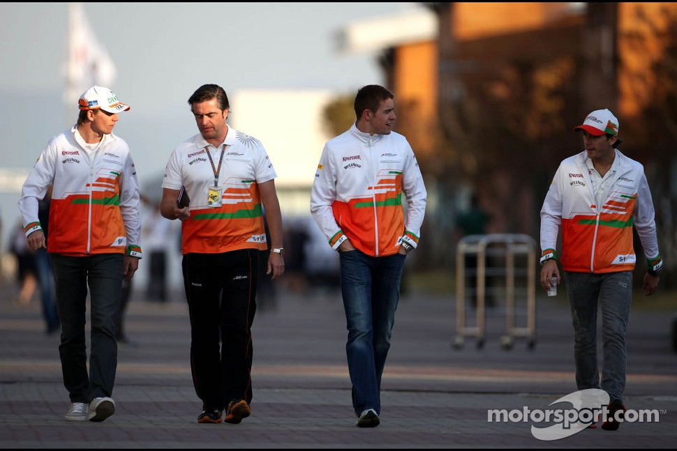 Nico Hulkenberg, Sahara Force India Formula One Team, Paul di Resta, Sahara Force India Formula One Team and Jules Bianchi, Sahara Force India Formula One Team
