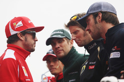 Fernando Alonso, Ferrari; Charles Pic, Marussia F1 Team; Vitaly Petrov, Caterham; Romain Grosjean, Lotus F1 Team and Jean-Eric Vergne, Scuderia Toro Rosso on the drivers parade