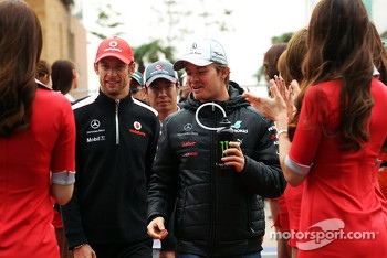 Jenson Button, McLaren with Nico Rosberg, Mercedes AMG F1 on the drivers parade